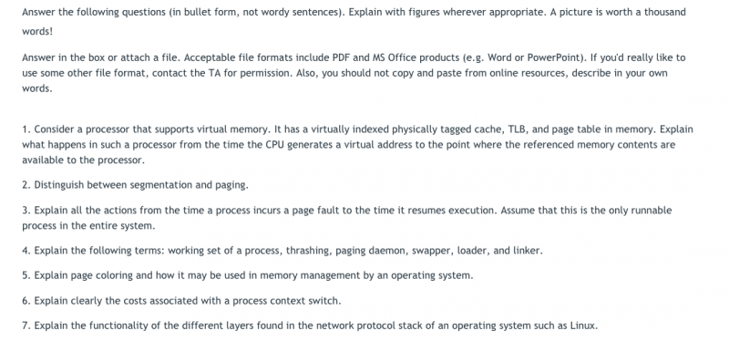 questions from #1 homework assignment (Advanced Operating Systems)